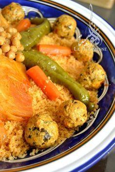 Coucous aux légumes et boulettes de poulet   La Tunisienne