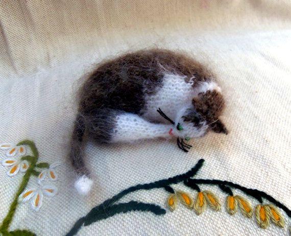 Kleine gestrickte Katze Soft Figur Sammelstuck von ArtlessTM