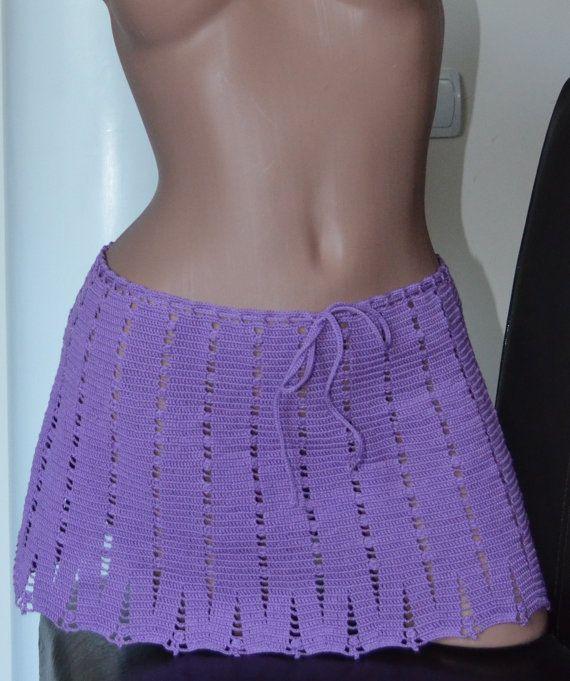 Moda de verano de Mini falda-encaje de Crochet malva-playa
