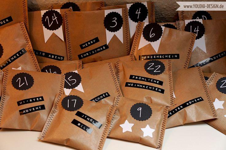 Nur noch eine Woche bis zum 1. Dezember. Deshalb gibt es heute einen DIY Adventskalender aus Packpapier. Einfach aus Packpapier 24 Tüten nähen und hübsch verzieren.