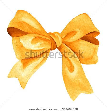 Golden gift bow. Watercolor drawing. - stock photo