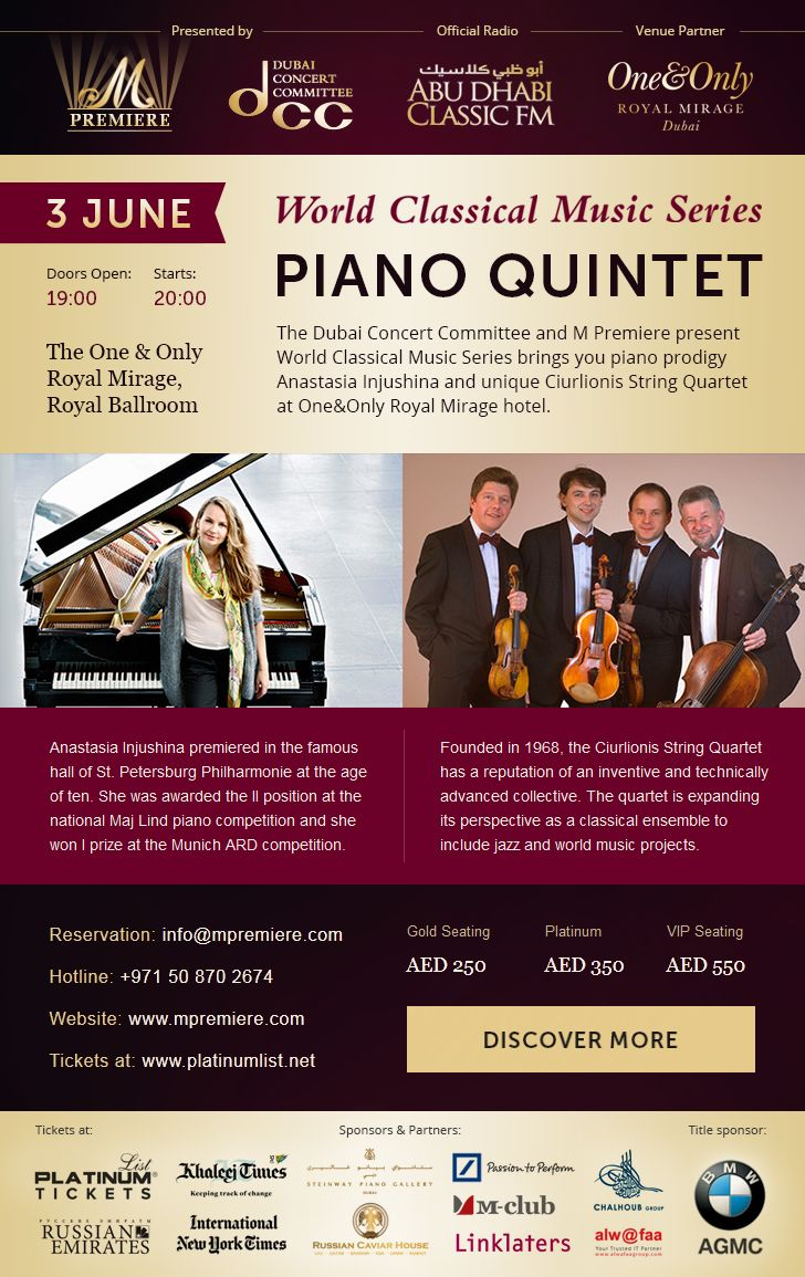 Email letter about Piano Quintet concert in Dubai.Online preview: http://mpremiere.com/emails/8-piano-en/#tokki_team, #tokki_team_portfolio, #webdesign, #email
