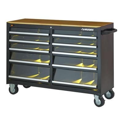 Husky 52 in. 10-Drawer Clear View Mobile Work Center with LED in Black-HTBX10 at The Home Depot