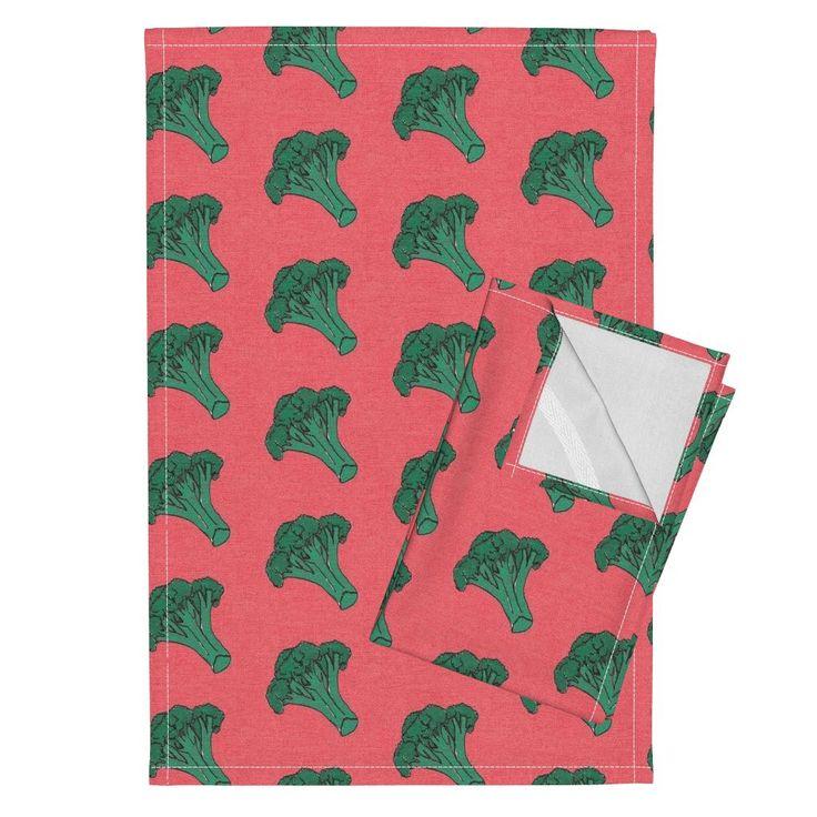 Orpington Tea Towels featuring love broccoli vegetable kitchen tea towel home decor  by monokeemono | Roostery Home Decor