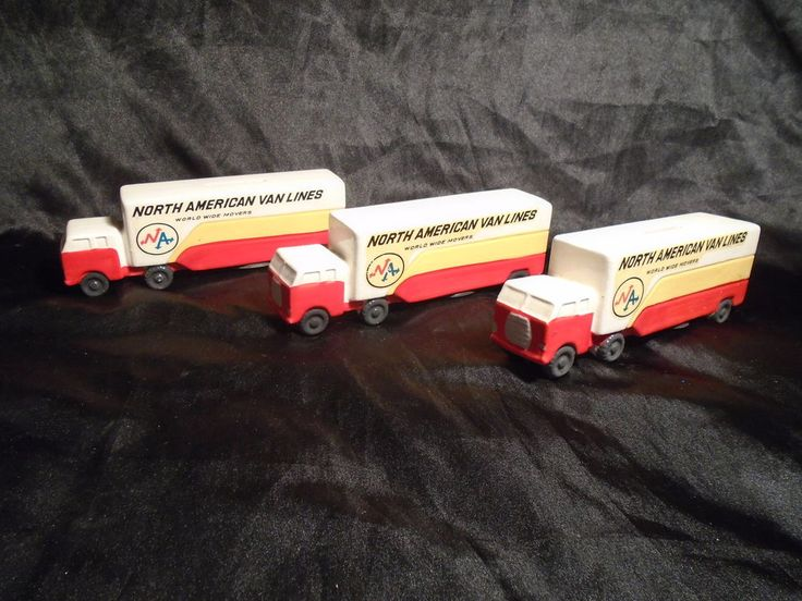 1, VTG NORTH AMERICAN VAN LINES TRUCK White Yellow Red Ceramic Piggy Bank #NORTHAMERICANVANLINES #Unknown