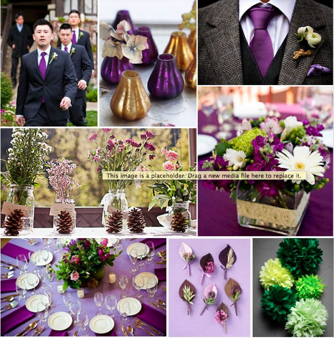 green and silver wedding centerpieces   ... ideas for a rich, Autumnal colour palette of plum, green and gold