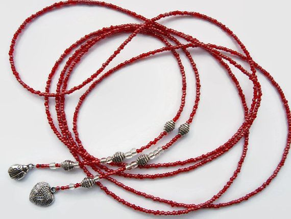 Red lariat seed bead necklace, long necklace, red.  Silver lined transparent beads, charms silver color, a heart and a lady bug.