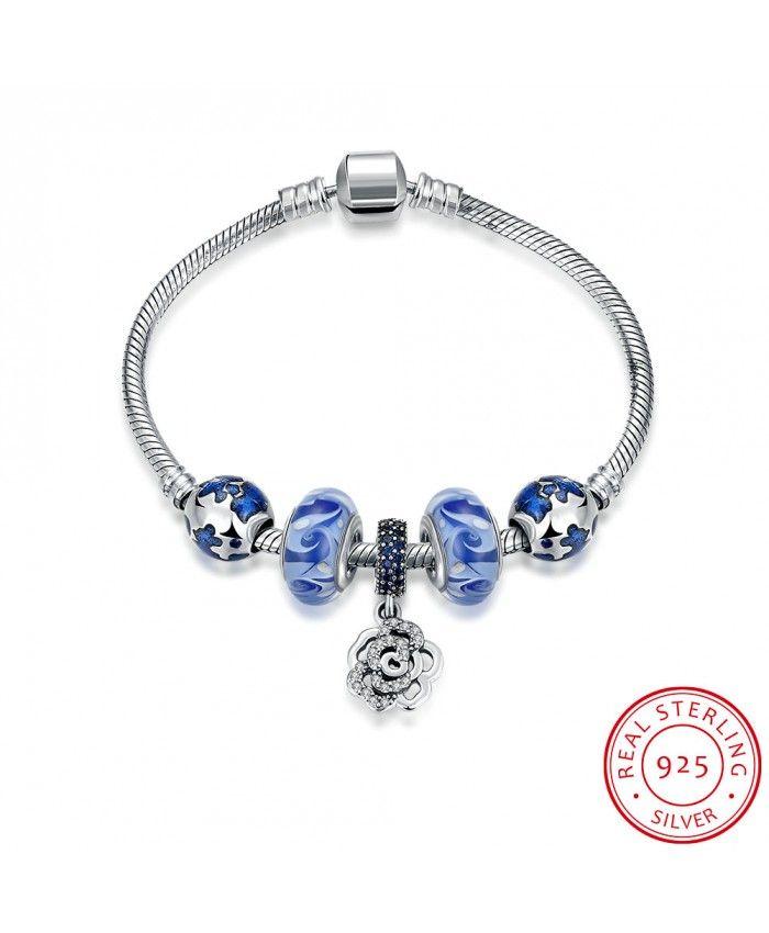 New Fashion Blue Charm Bracelet With Rose Pendant