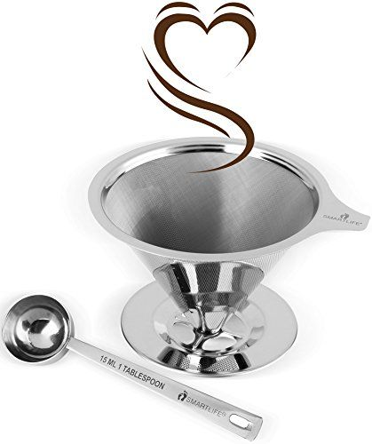 SmartLife 188 Stainless Steel Reusable Cone Coffee Filter with Cup Stand and Measuring Spoon -- Check out the image by visiting the link. (Note:Amazon affiliate link)