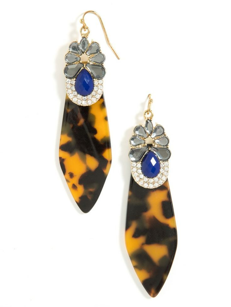Go graphic with these vintage-inspired gem encrusted tortoise earrings that feature opaque gems and cool clear crystals.