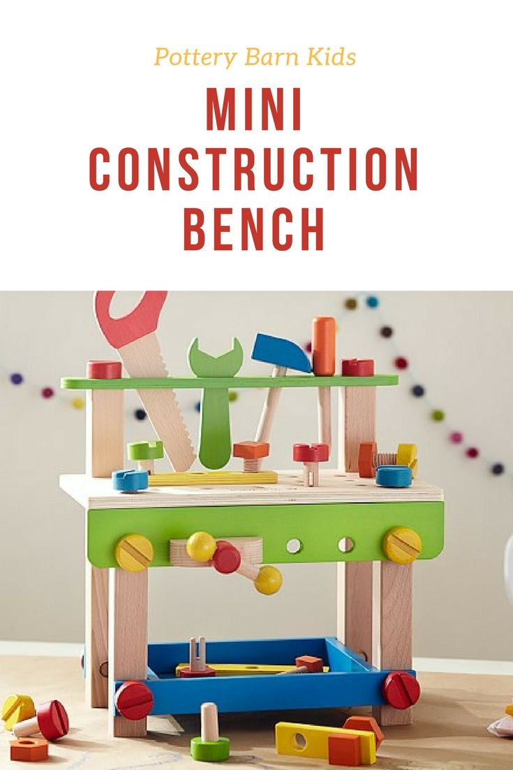 Super cute wooden workshop for your little handyman or handywoman. Pottery Barn Kids Mini Construction Bench is what every toddler needs to practice helping with house projects! ♥ #WoodenToys #ToddlerToys #BuildingToys #CreativeToys #Affiliate