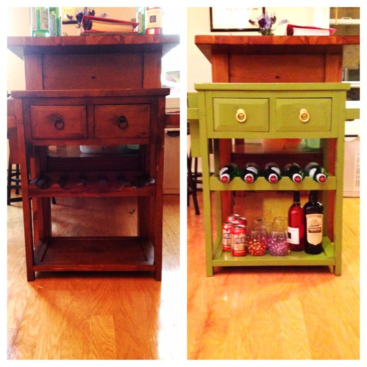 DIY Wine Cart- my favorite piece in my house. A can of chartreuse paint can make anything your favorite piece in the house.