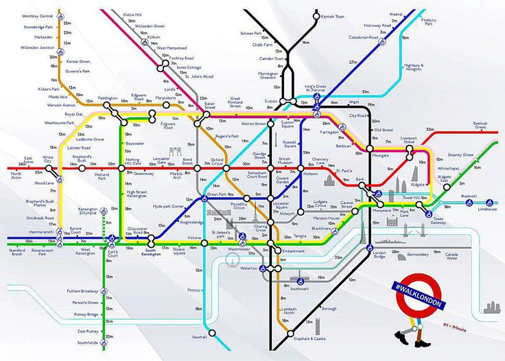 London-based creative duo Joe Watson and Aryven Arasen have created a new version of the Tube map showing how long it takes to walk between stations.