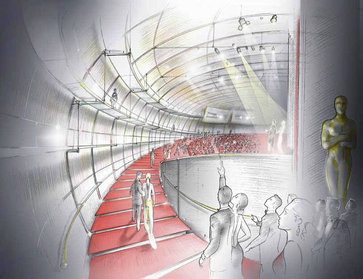Interior illustration of Premier Theatre for the new, and first, 'Academy Museum of Motion Pictures' in Beverly Hills, designed by architect Renzo Piano and Zoltan Pali.