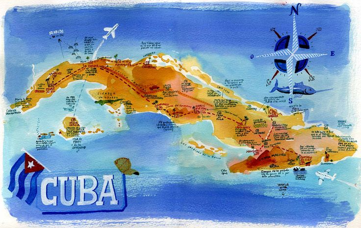 Painted map of Cuba