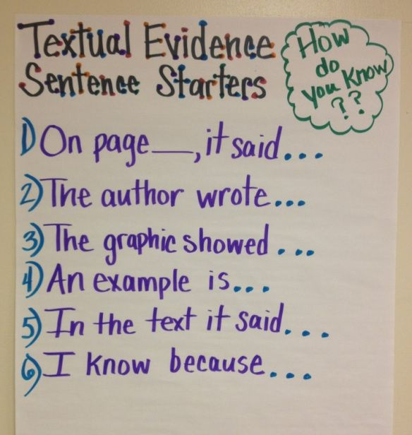 Giving Text Evidence. Make this to hang in classroom, they need this!