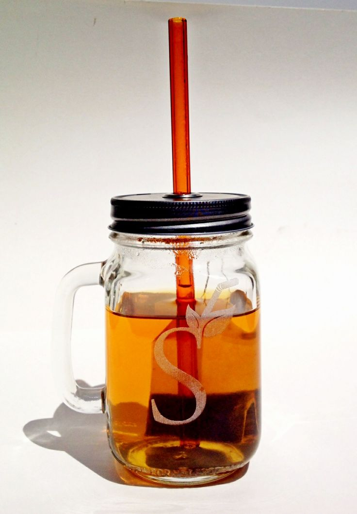 """Mason handle jar combo with one lid with a straw hole and one classic 8"""" colored straw. $13.50"""