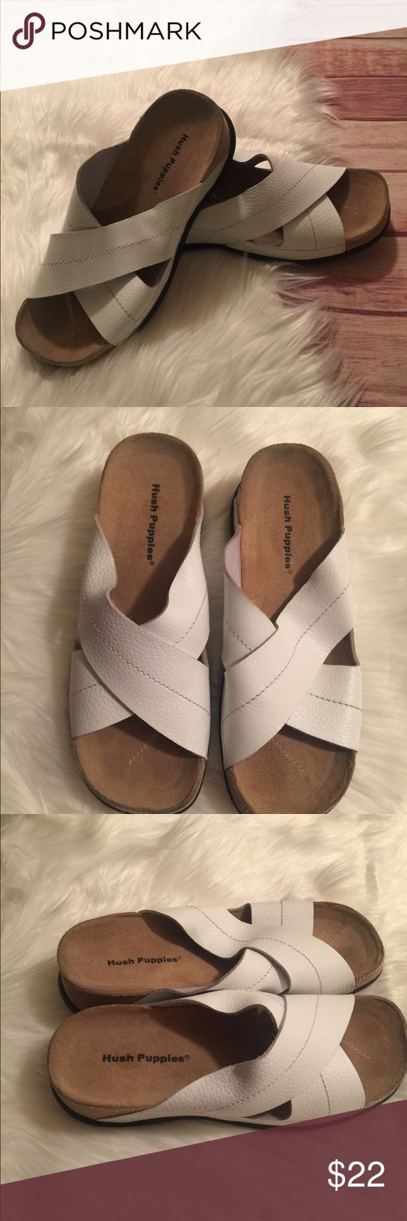 Hush Puppies White Crisscross Sandal Slides Size 7 Hush Puppies White Crisscross Sandal Slides Size 7 Good condition on inside has some faint pink lines see pictures Hush Puppies Shoes Sandals