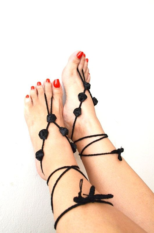 Gothic Black ribbon flower Beach wedding barefoot sandals, Toe thong Bottomless shoes, Foot jewelry, Wedding Shoes, bellydance