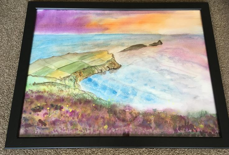 New Original painting of Worms Head, The Gower Peninsula, South Wales - watercolour/watercolor, Framed, ready to hang by KnottyThistle on Etsy