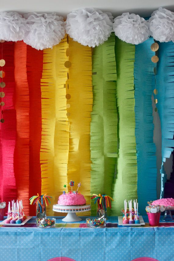 Custom Crepe Paper Fringe Garland Backdrop for by SimplyNesting