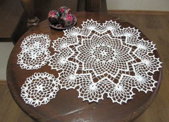 Decorative Lace Doilies, White Crochet Lace Doily, Set of 4 Small Accessories,  Easter Decor, Rural Idyll, Festive Decoration,  Easter Gifts