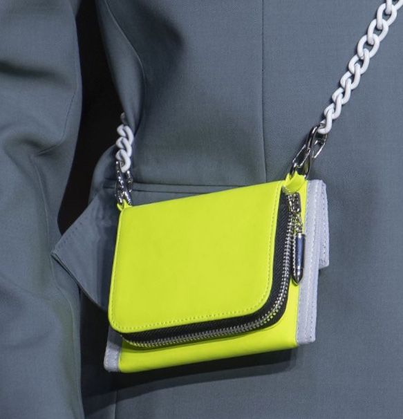 Green neon crossbody bag with white
