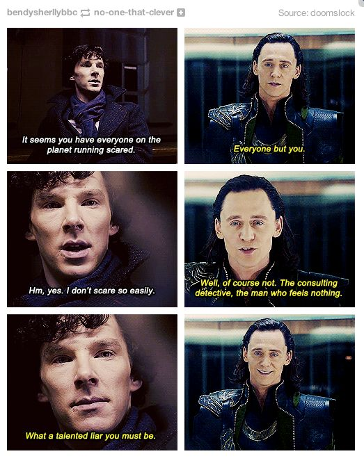 Sherlock Loki Crossover!!!! Looove this!!! I don't know wether to put this on my Hiddleston or Cumberbatch board... Idea!
