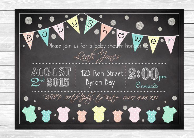 BABY SHOWER INVITATION, Unisex, Pastel, Blackboard ,Chic Invite, Personalised Digital Print, Print Yourself! by LittleFeetInvites on Etsy