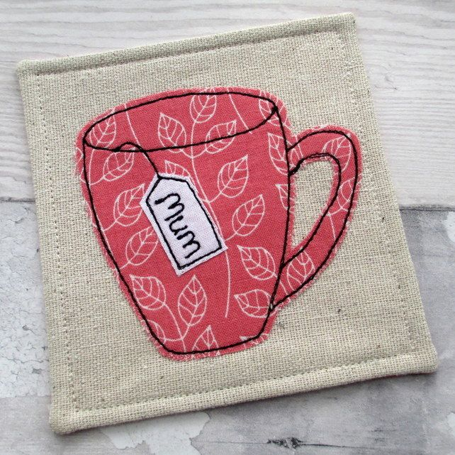 Personalised Tea Cup Coaster for Mum - Fabric Coaster- Gift for Her £7.50