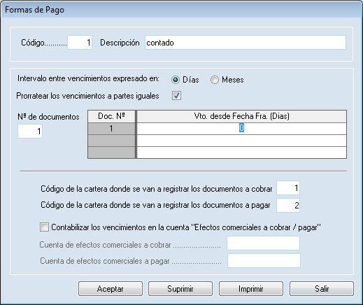 Formas de pago del programa ERP Gextor Financiero (contabilidad).