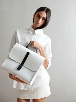 April 2014  Young British Designers:  Caity Rucksack in White by Danielle Foster GBP 470