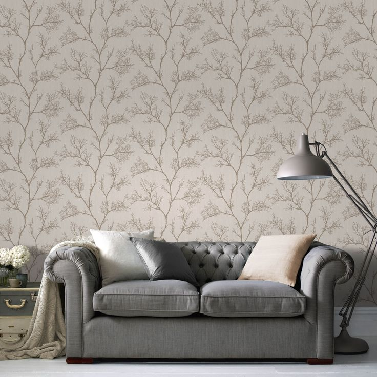 Cream Gold Icy Trees Glitter Effect Wallpaper