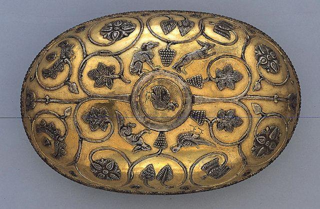 Sassanian Silver Gilt Elliptical Bowl with a Vine Scroll, 5th century B.C.