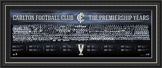 Pays tribute to Carlton's 16 VFL/AFL Premierships Features team photos from all 16 Premierships Limited in edition to 1500 only Officially licensed by the AFL Certificate of Authenticiry issued by AFLPA Approx framed size 1100mm x 440mm Also availble unframed