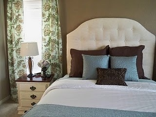 Upholstered headboard - i like this shape