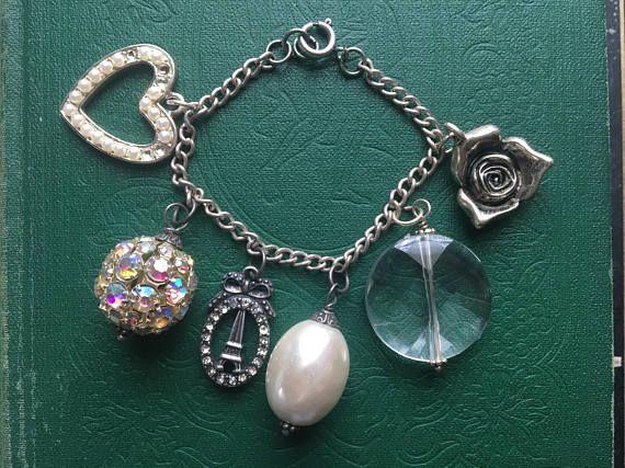 Vintage Kitsch Kawaii Paris Romantic Girly Charm Bracelet