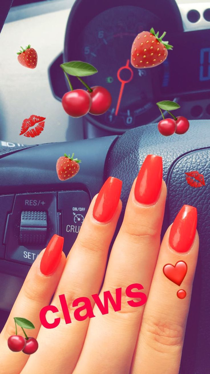 red cherry coffin shaped nails   nails in 2019  Red nails Red acrylic nails Coffin shape nails