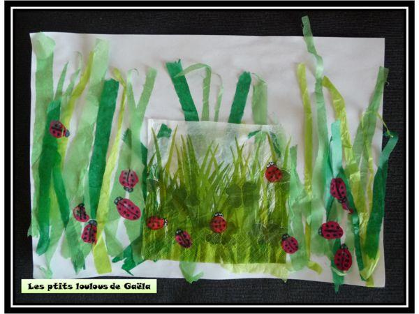 Bricolage enfants pour le printemps petites coccinelles dans les herbes printemps brico - Bricolage de printemps ...