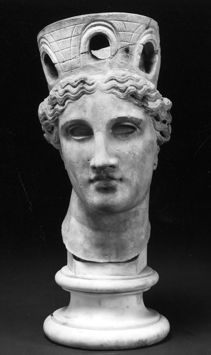 Marble Head From A Statue Of A Goddess Possibly Cybele Or