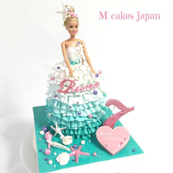 涼しげなイメージのドレスケーキ #爽やか #fondantcake #fondant #Marine #shell #dress #dresscake #summer #summercake #summerdress #girl #夏