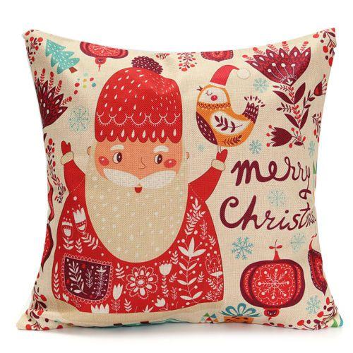 Christmas-Xmas-Linen-Cushion-Cover-Throw-Pillow-Case-Home-Decor-Festive-Gift