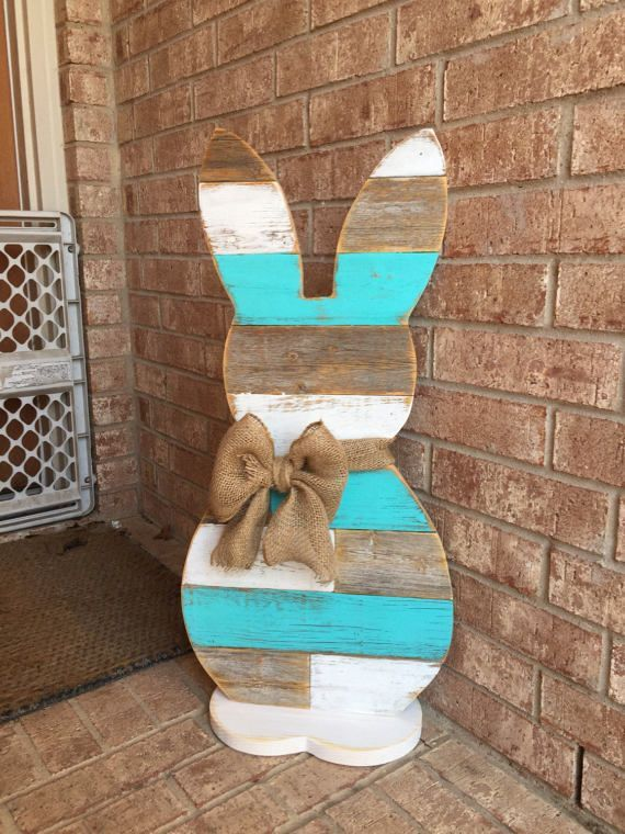 Standing Wood Bunny – Easter Bunny 31 inch – Farmhouse Reclaimed Wood – Front Porch Deco will ship approx a week after purchase
