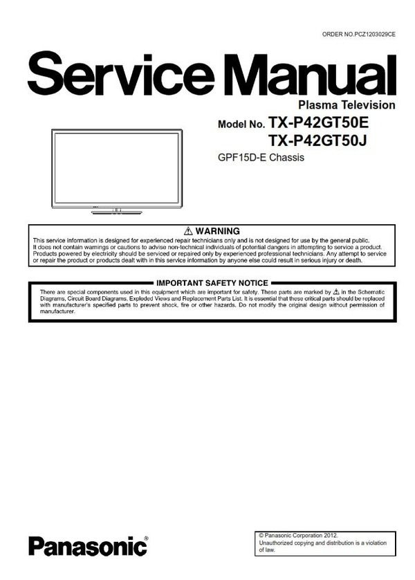 Panasonic Tx P42gt50e P42gt50j Plasma Tv Service Manual Tv Services Repair Guide Repair