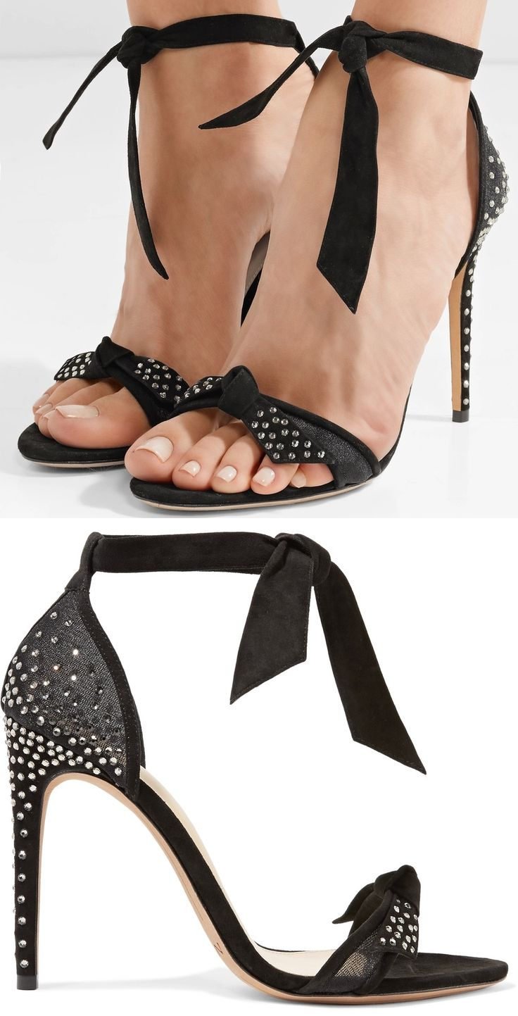 Alexandre Birman's 'Clarita' sandals have a leg-lengthening effect and beautifully complement any dress, as well as tailoring and jeans. This pair is updated in black mesh and embellished with scores of glittering crystals that catch the light with every step.