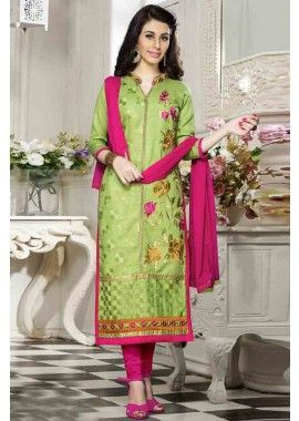 couleur verte coton churidar costume, - 76,00 €, #Salwarkameezfemme #Robeindienne #Lamodeexclusive #Shopkund