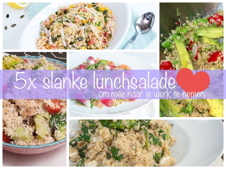 Neem in plaats van een saaie boterham eens een gezonde en slanke salade mee naar je werk. Zo geniet je nog meer van je lunch!