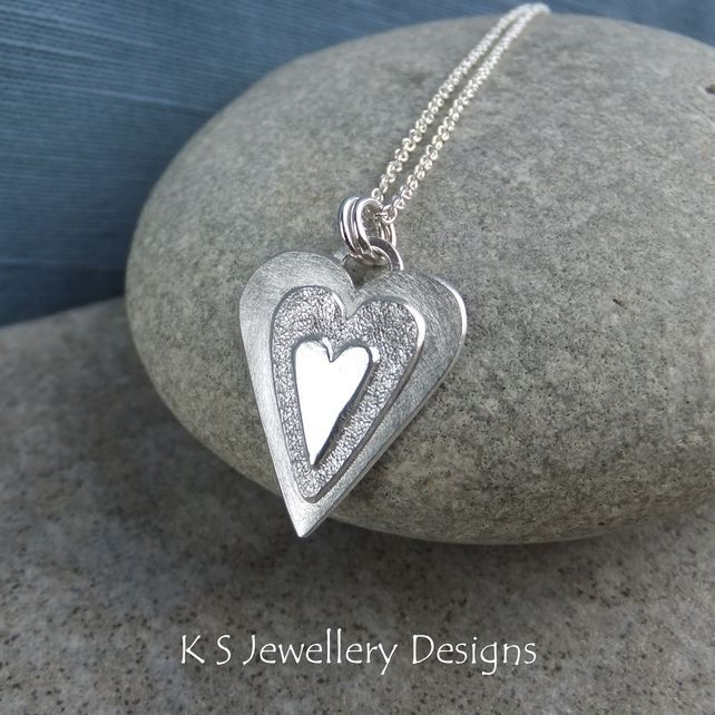 Sterling Silver and Copper Heart Pendant One of a Kind Necklace Ready to Ship
