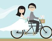 Custom Wedding Portrait, Bicycle Built for Two Custom Portrait, Just Married, Wedding Portrait with pet, Tandem Bike, Mint and Gold