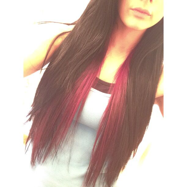 Black Hair with Black Cherry Red underneath #blackhair #redhair #layers plan on doing this or brown underneath